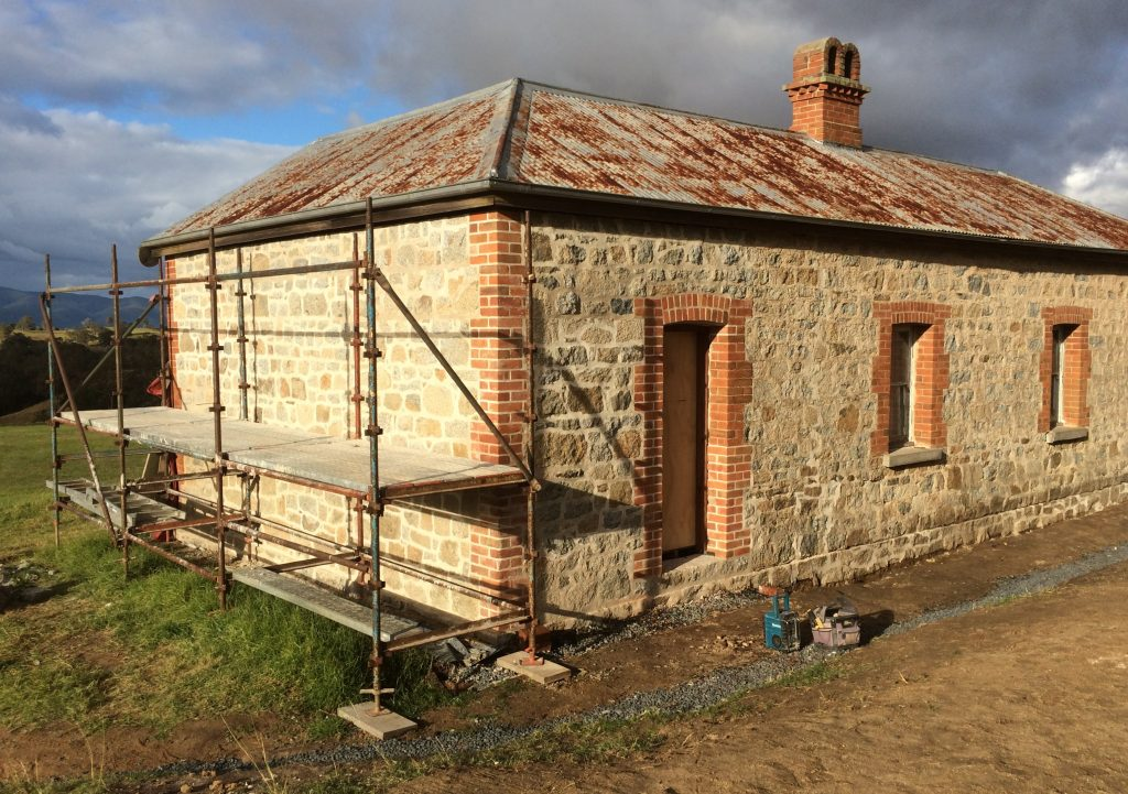 Rebuilt walls with traditional lime mortar